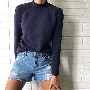 T Tahari navy knit long sleeve mock neck sweater S